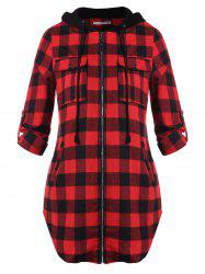 Plus Size Plaid Zip Fly Hooded Jacket -