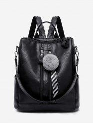 Vintage Faux Fur Ball School Backpack -