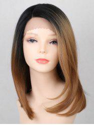 Medium Side Parting Ombre Straight Party Lace Front Synthetic Wig -
