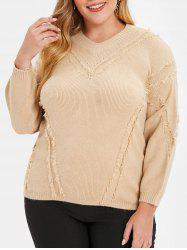 Plus Size Drop Shoulder Frayed Sweater -