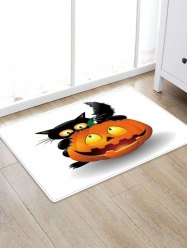 Cat Pumpkin Design Polyester Floor Rug -