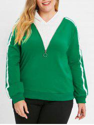 Plus Size Striped Side Zipper Hoodie -