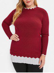 Plus Size Contrast Trim Longline Sweater -