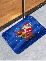 Father Christmas Deer Printed Decorative Floor Mat -