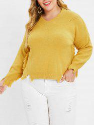Plus Size High Low Frayed Sweater -