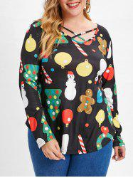 Criss Cross Plus Size Christmas Print T-shirt -
