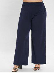 Plus Size Elastic Waist Straight Pants -