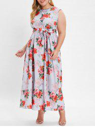 Plus Size Sleeveless Floral Print Maxi Dress with Belt -