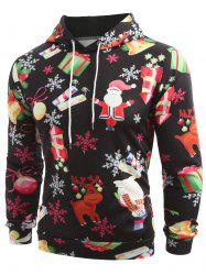 Christmas Elements Print Pullover Hoodie -