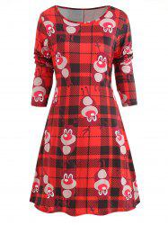 Christmas Plaid Print Long Sleeve Dress -