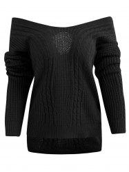 Crisscross Off Shoulder Cable Knit Sweater -