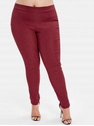 Back Pockets Plus Size Elastic Waist Pants -
