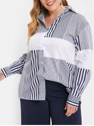 Plus Size Slit High Low Long Striped Shirt -