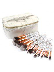 15 Pcs Marble Handles Cosmetic Brush Collection with Makeup Bag -