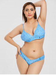 Plus Size Faux Denim High Leg Bikini Set -