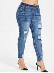 Plus Size Distressed Pocket Jeans -
