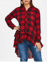 Plus Size Tartan Flounce High Low Shirt -