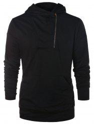 Sweat à capuche asymétrique demi-zip uni -