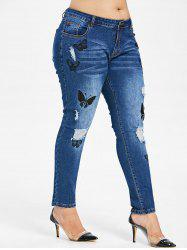 Plus Size Butterfles Embroidery Destroyed Jeans -