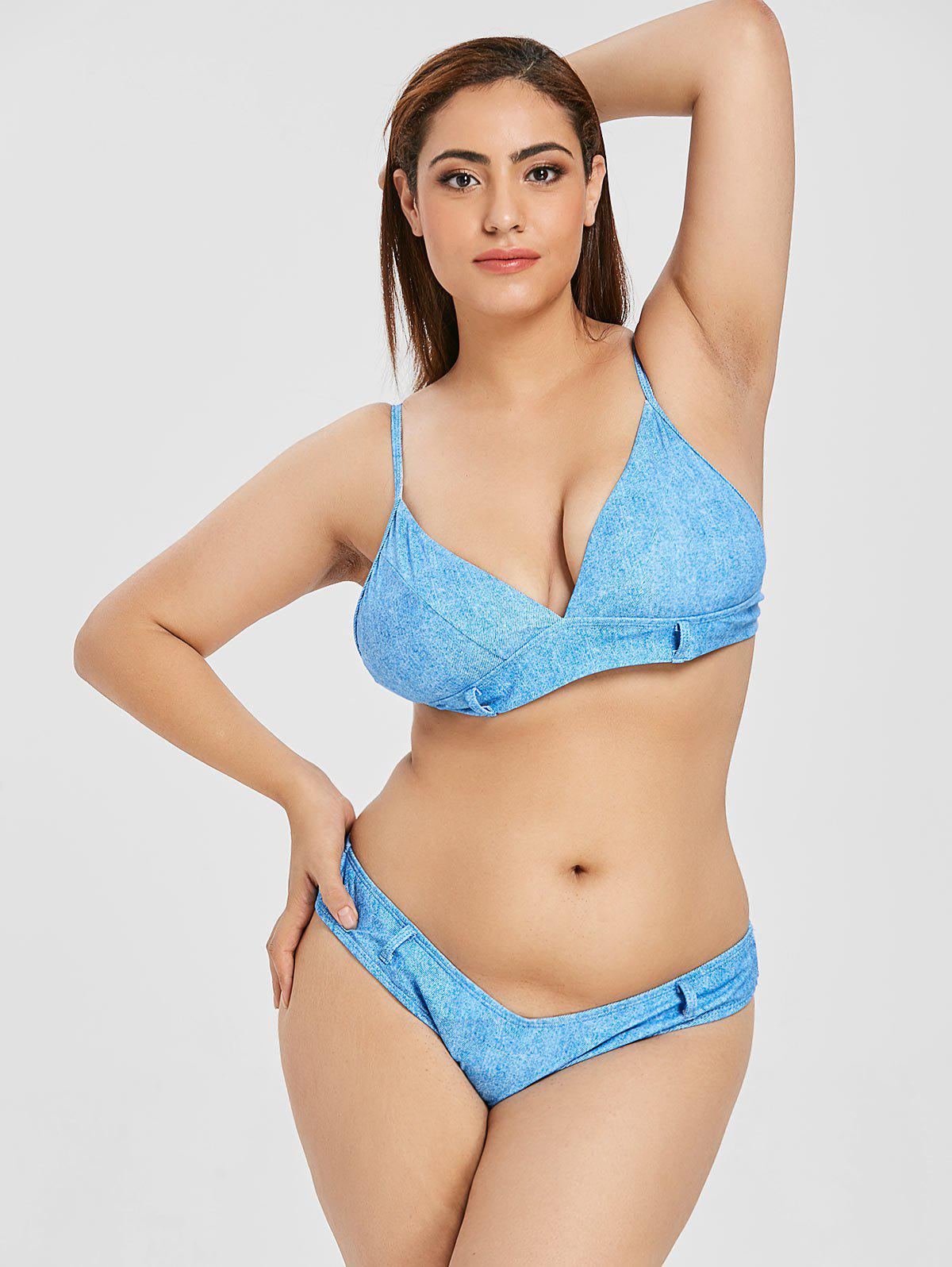 Discount Plus Size Faux Denim High Leg Bikini Set