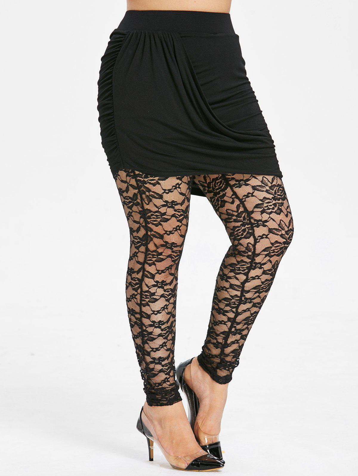 Latest Plus Size Lace See Thru Skirted Pants