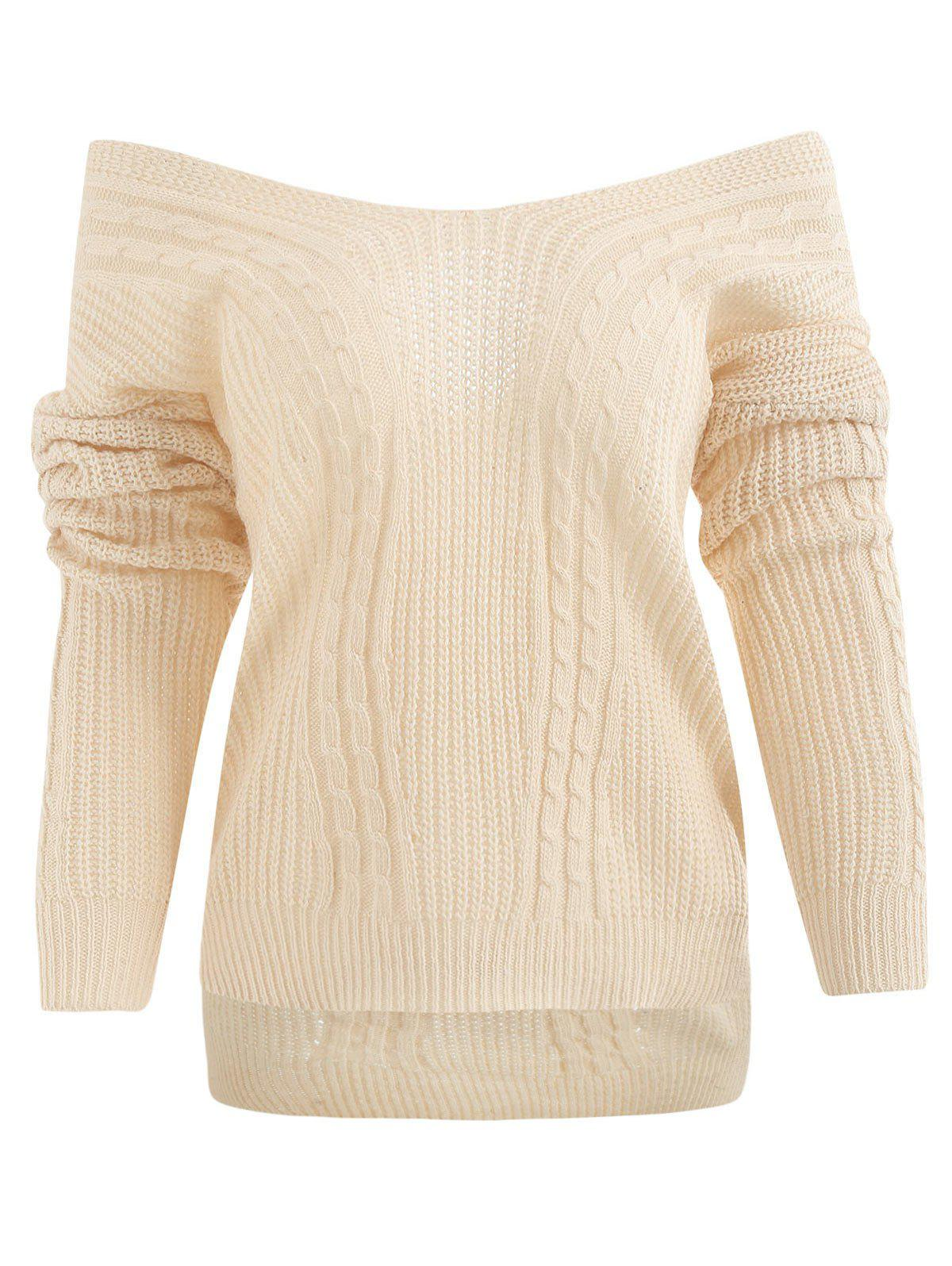 ff1cbe5f89 41% OFF   2019 Crisscross OFF Shoulder Cable Knit Sweater