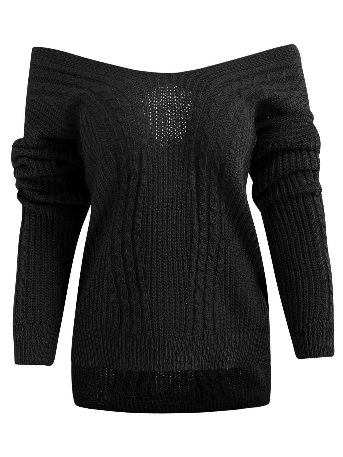 Hot Crisscross Off Shoulder Cable Knit Sweater