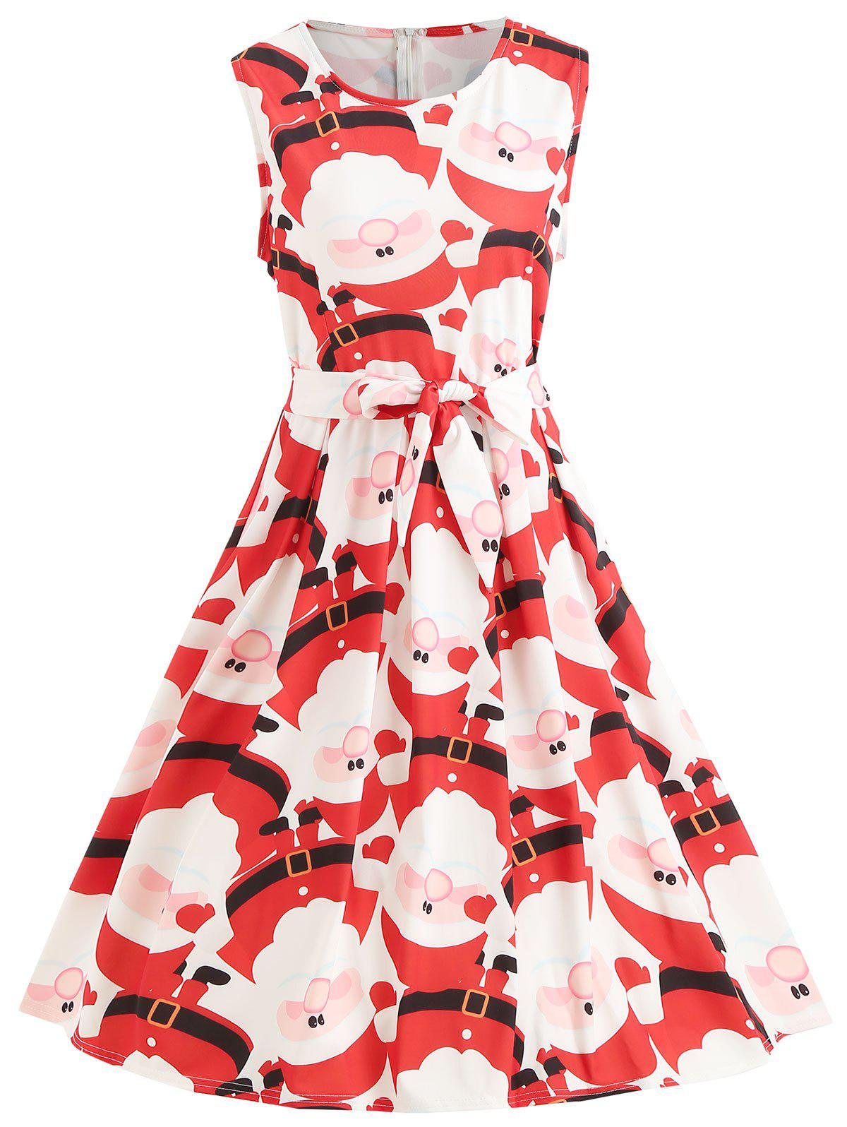 Online Sleeveless Christmas Print Vintage Dress
