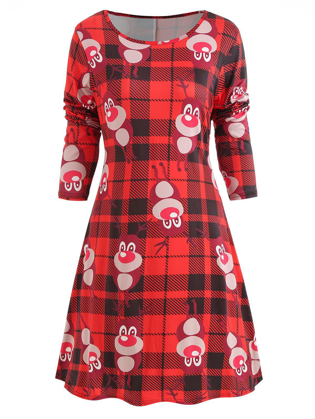Affordable Christmas Plaid Print Long Sleeve Dress