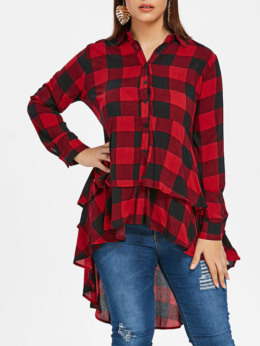 Online Plus Size Tartan Flounce High Low Shirt