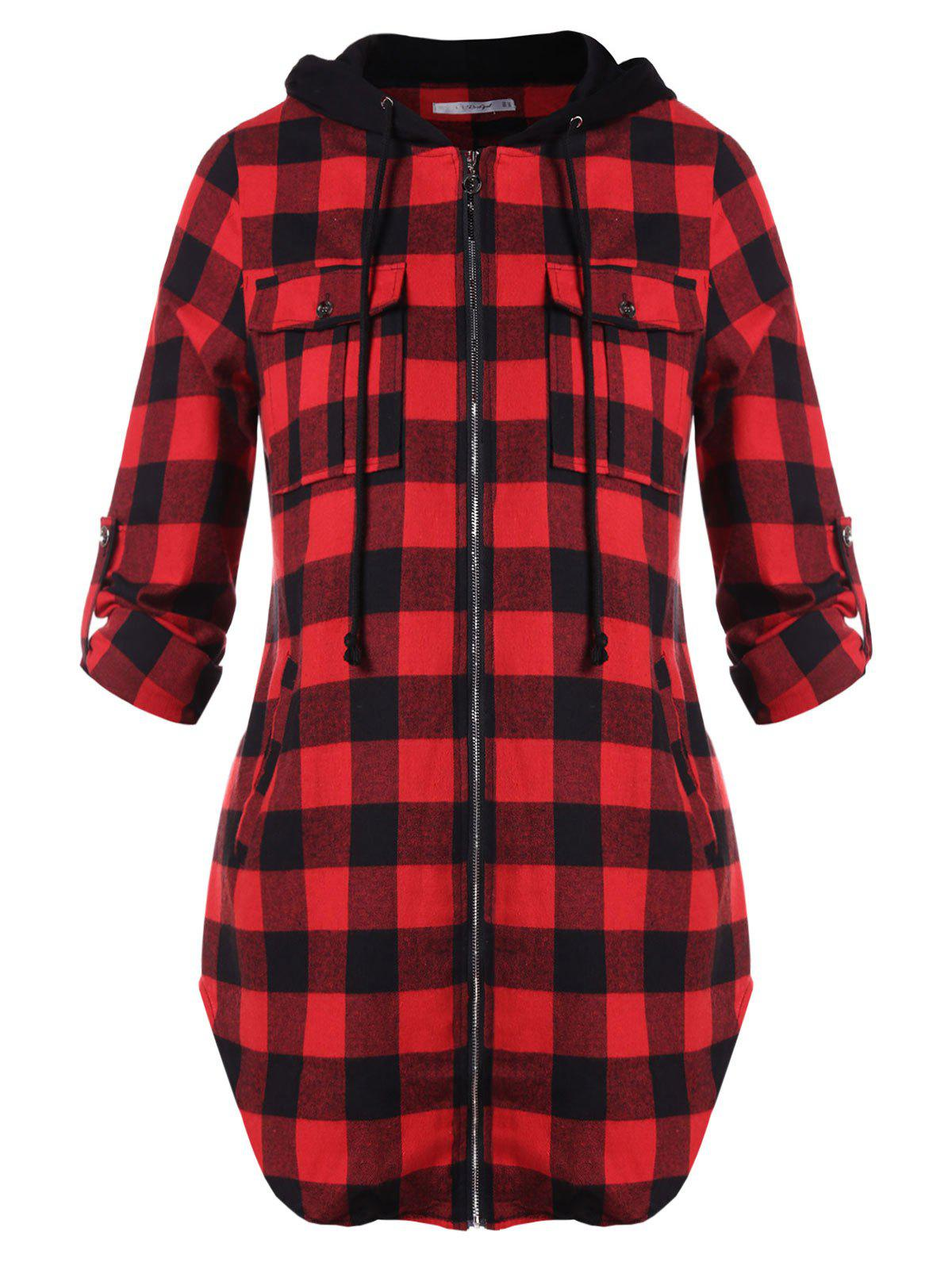 Buy Plus Size Plaid Zip Fly Hooded Jacket