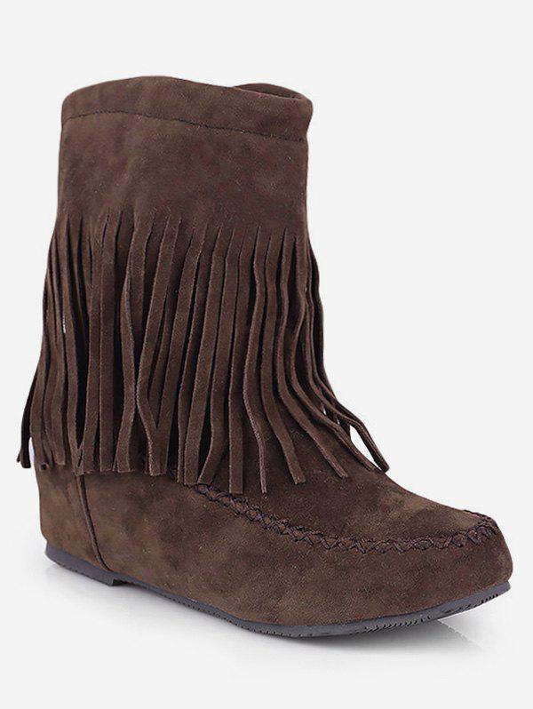 Cheap Plus Size Moc Toe Tassels Suede Boots