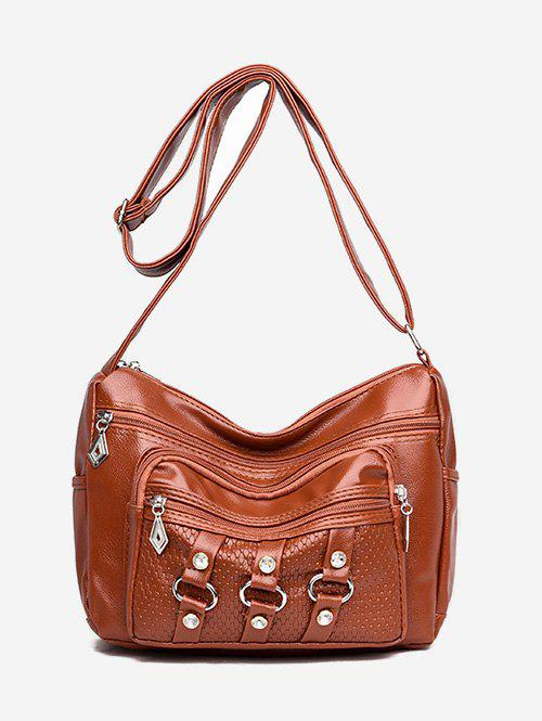 6ea631da3ed8 2018 Pu Round Rhinestone Pattern Crossbody Bag In Brown