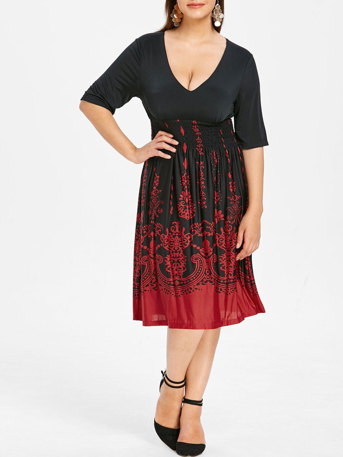 Cheap Plus Size Barque Smocked Dress