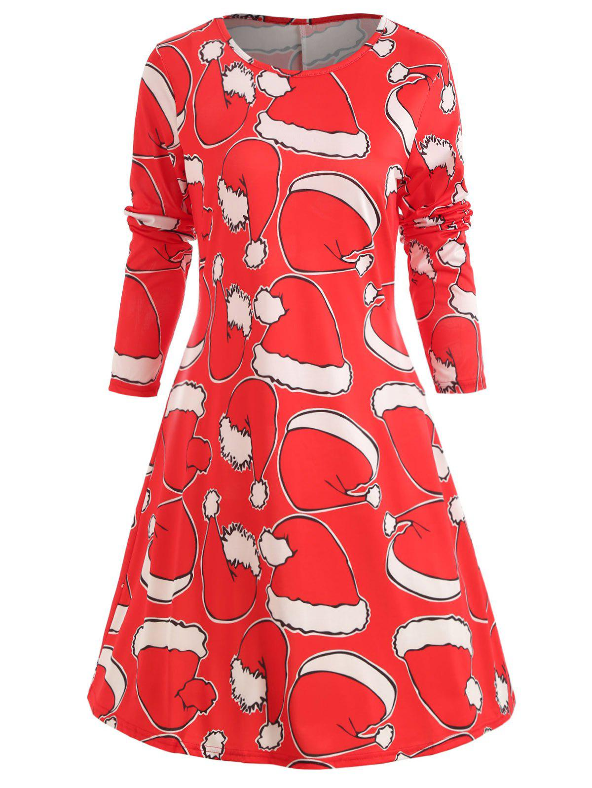 Store Christmas Hat Print Long Sleeve Dress