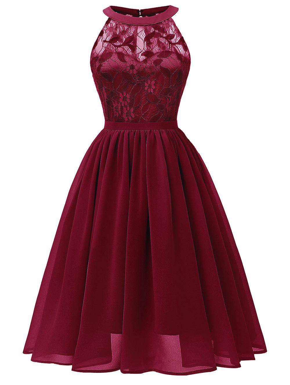 Affordable Sleeveless Lace Insert Prom Dress