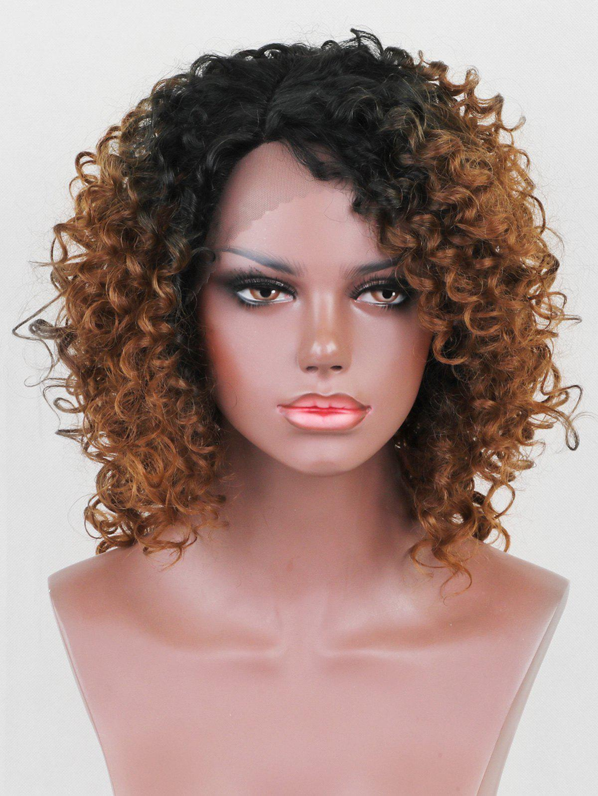 Best Short Side Parting Ombre Curly Lace Front Synthetic Wig