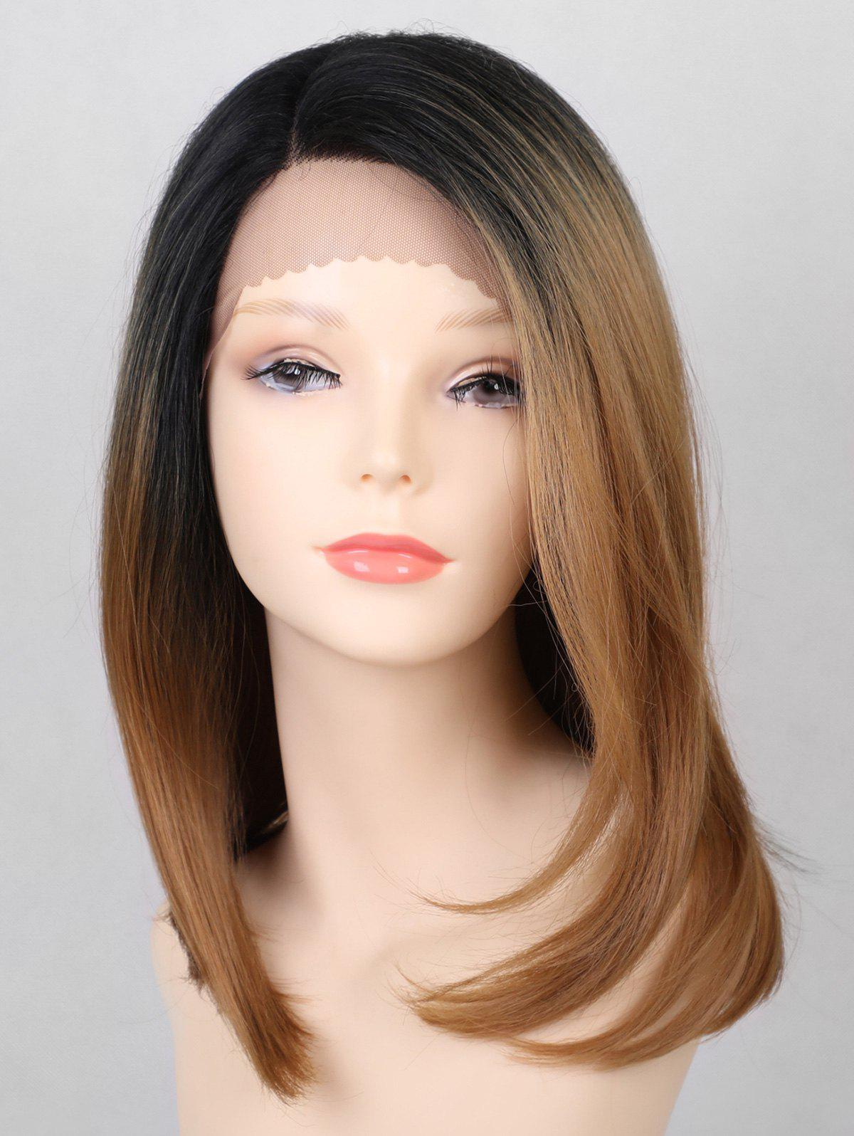 Latest Medium Side Parting Ombre Straight Party Lace Front Synthetic Wig