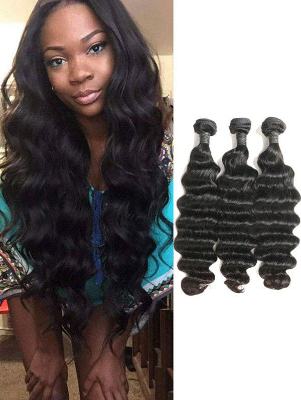 2018 3pcs Indian Virgin Deep Wave Human Hair Weaves In Natural Black
