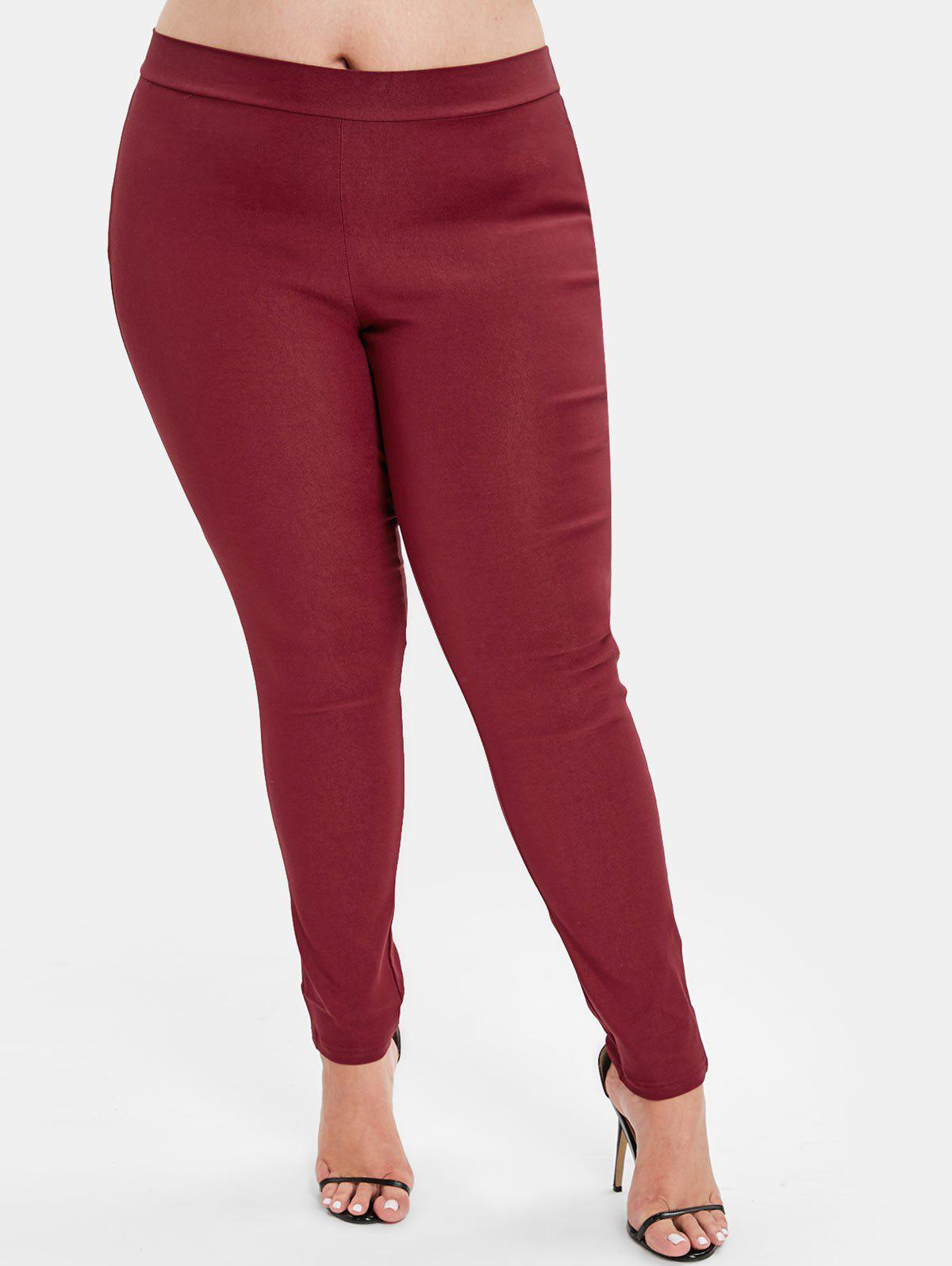 Discount Back Pockets Plus Size Elastic Waist Pants