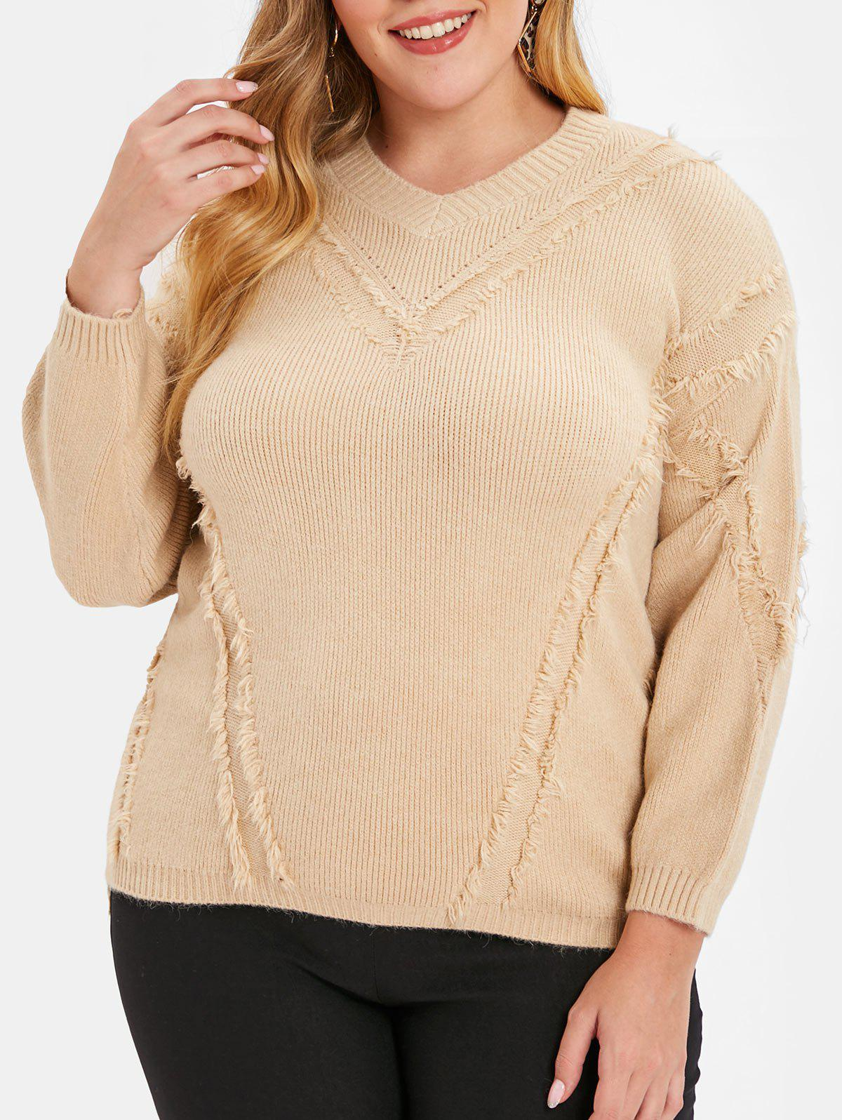 Trendy Plus Size Drop Shoulder Frayed Sweater