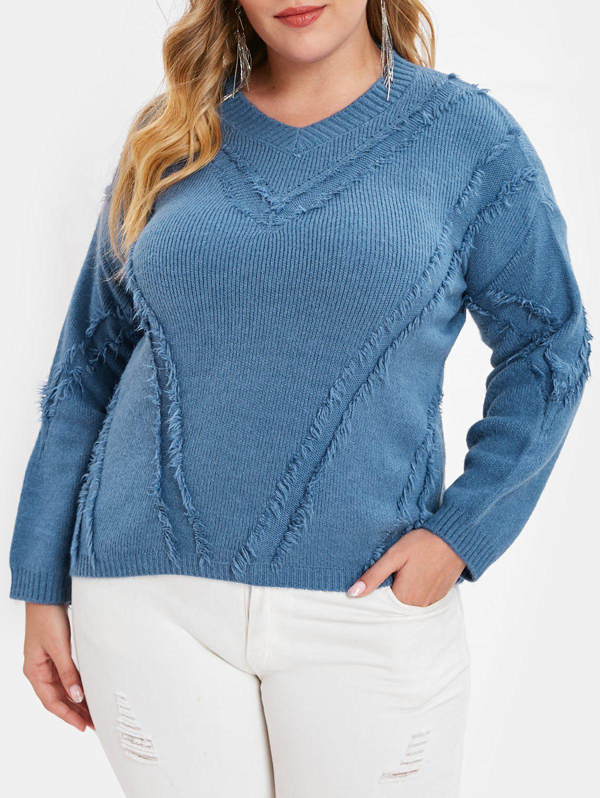 Outfit Plus Size Drop Shoulder Frayed Sweater