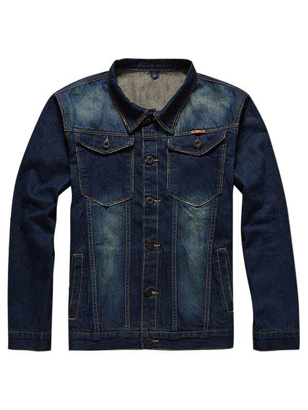 Online Plus Size Chest Pockets Denim Jacket