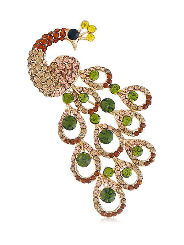 Outfits Peacock Round Rhinestone Design Brooch