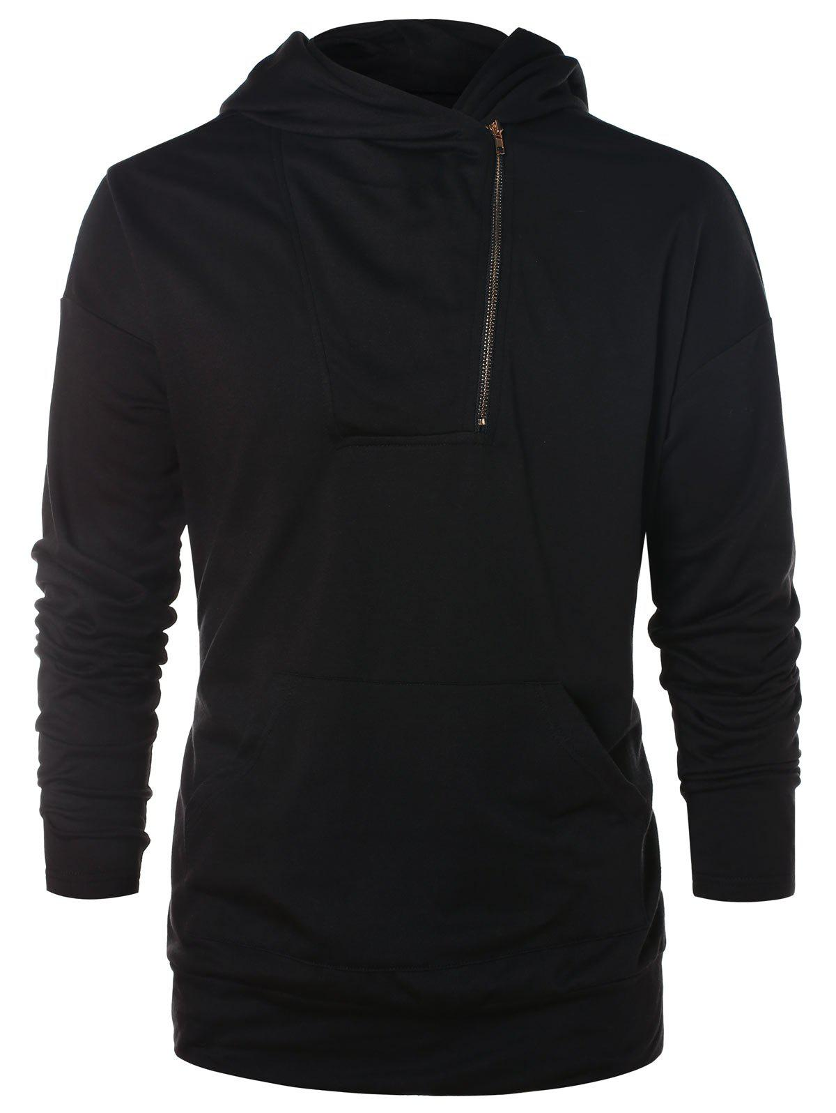 Sweat à capuche asymétrique demi-zip uni