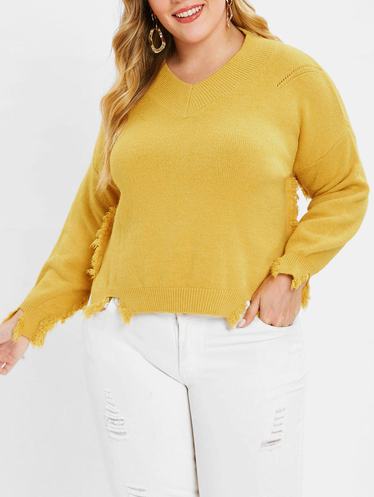 Discount Plus Size High Low Frayed Sweater