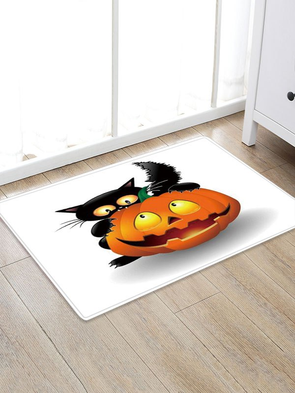 Trendy Cat Pumpkin Design Polyester Floor Rug