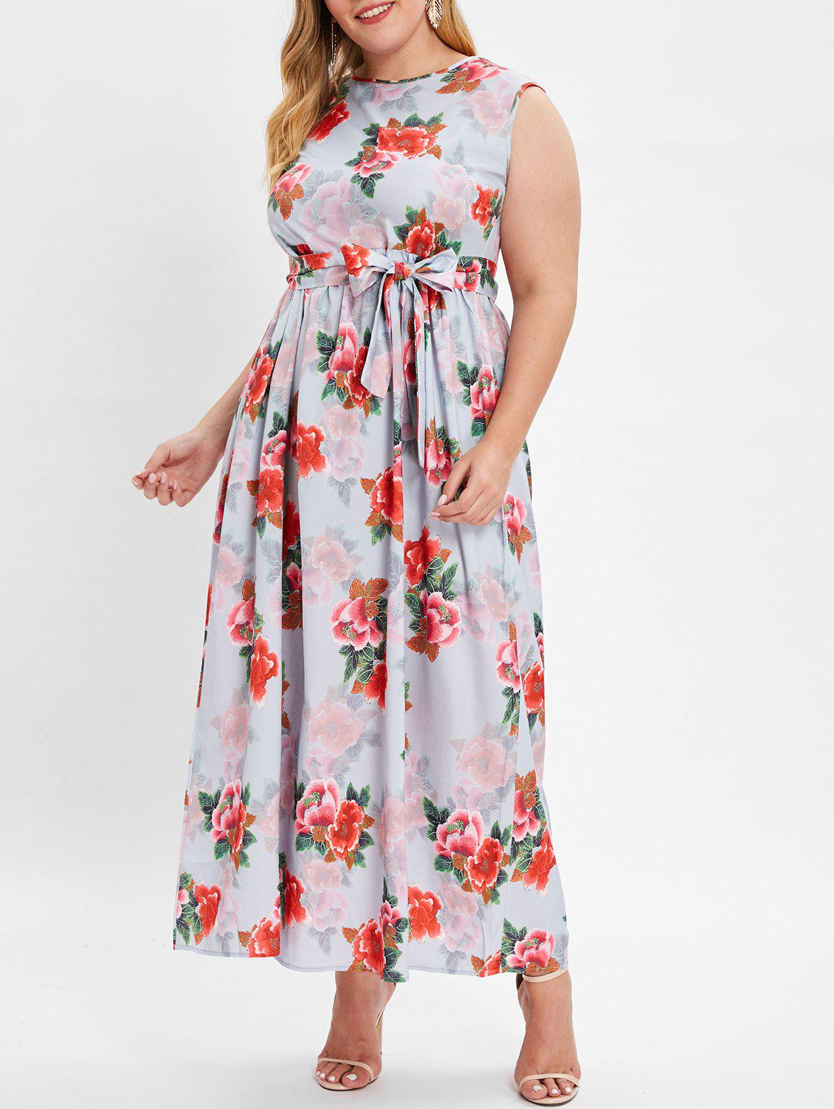 Affordable Plus Size Sleeveless Floral Print Maxi Dress with Belt