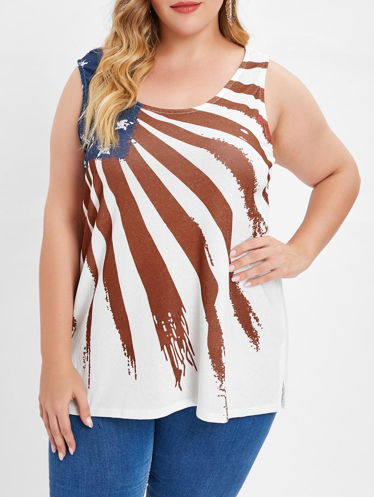 698a2ab583c06 2019 Plus Size American Flag Graphic Tank Top