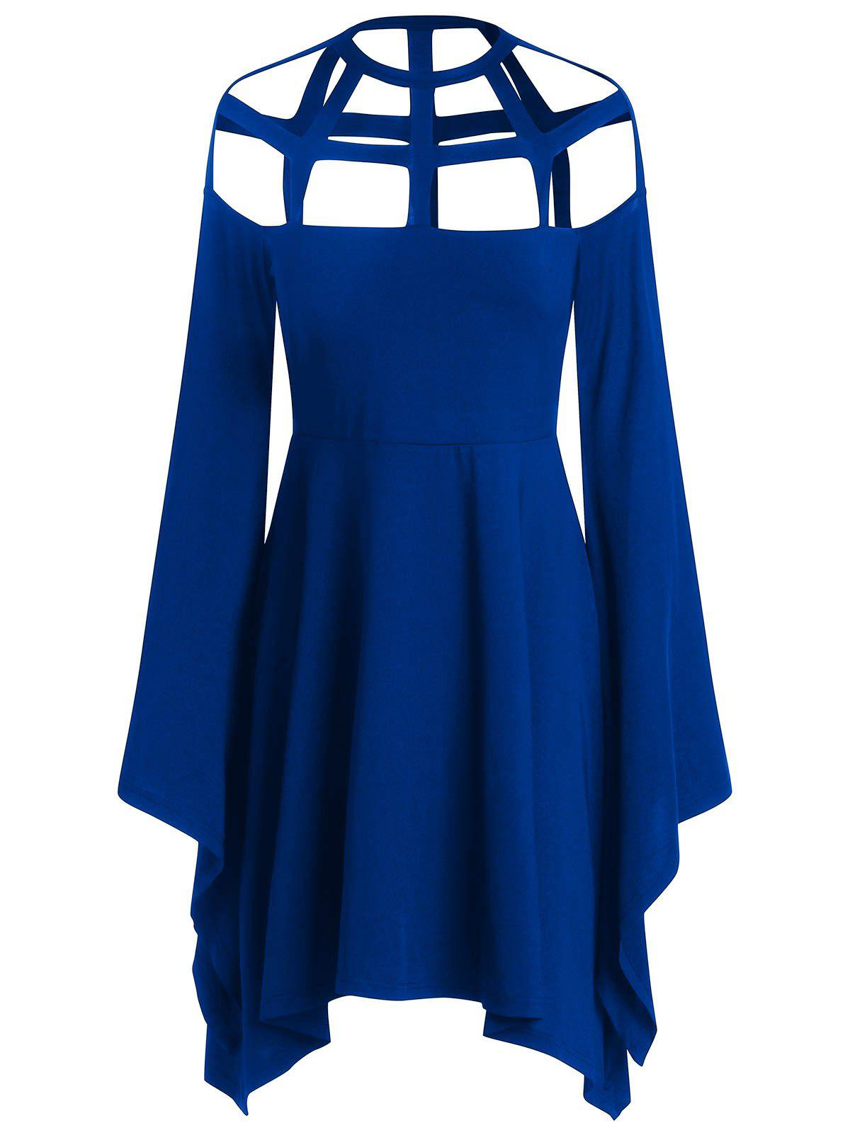 Sale Halloween Costume Hollow Out Flare Sleeves Dress